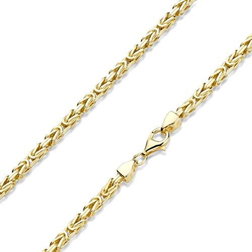 MATERIA Herren Gold-Kette Königskette 3mm dick - 925 Sterling Silber Halskette vergoldet K112-40 cm
