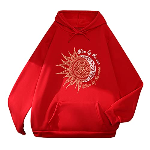 Letdown Women Fashion Hoodies Sweatshirts Round Neck Long Sleeve Sun Moon Print Hooded Pullover Tops Loose Blosue with Pocket Red
