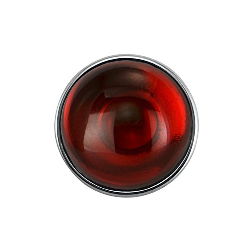 Quiges Damen Click Button 18mm Chunk Versilbert Dunkelrot Naturstein für Druckknopf Zubehör