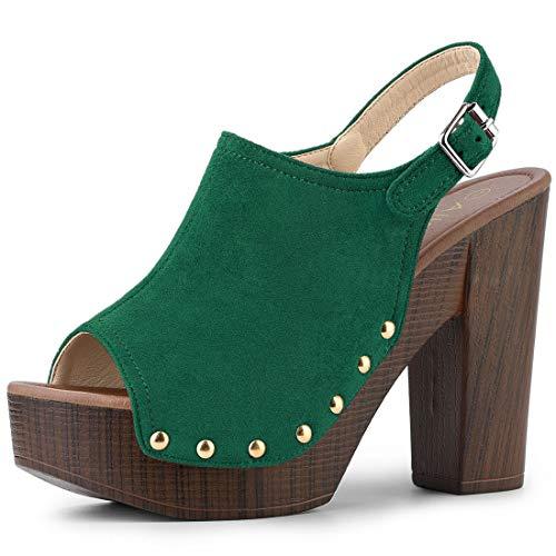 Allegra K Women's Slingback Platform Chunky Heel Green Sandals - 8.5 M US