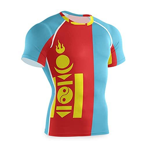 Camiseta de compresión de manga corta para hombre de la bandera de Mongolia