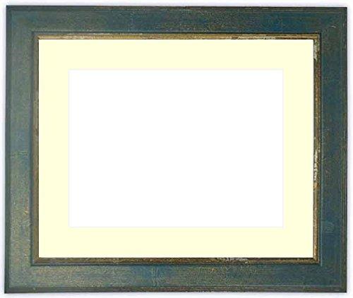 写真用額縁 9650/ブルー キャビネ(180×130mm) ガラス マット付 マット色:黒