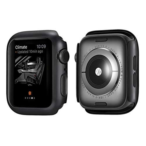 2 Piezas de Cubierta Mate para Apple Watch Series 6 5 4 Funda Protectora de Marco Funda Protectora para iWatch 5 4 Funda Negra, 44 mm