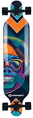 Schildkröt Longboard Freeride 41, Madera de Arce de 9 Capas, Tabla Completa con Suspensión de Eje Abatible, Rodamientos de Bolas ABEC-11, Diseño: Cool Chimp, 510690