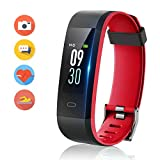 HolyHigh 115C Fitness Band,Wateproof Activity Tracker with Heart Rate&Sleep Monitor Call SMS Alert, Digital Watch Step/Walk Counter Smart Watch for Men Boys