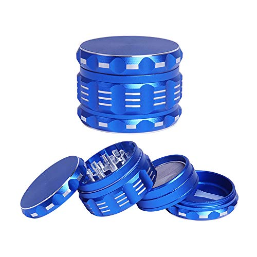 Premium Herb Grinder with Magnetic LidUltralight Aviation Aluminum Manual Spice Grinder with Pollen CatcherBlue