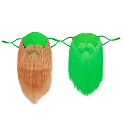 PRETYZOOM 2Pcs Barba de Duende Irlandés Barba Falsa de Jengibre Barba Irlandesa Barba Amish St. Disfraz del Día de Patricio para Fiesta de Cosplay del Festival Irlandés Verde/Marrón