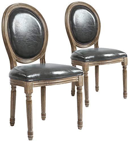 menzzo–Set di 2sedie medaglione Louis Xvi finta (PU) Grigio, Legno, puro grigio e legno chiaro, 51x 51x 72cm