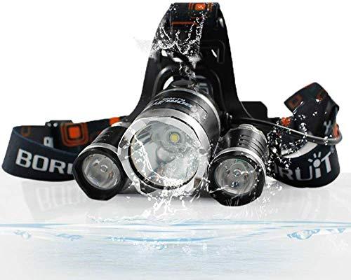 HKX Lámpara de Cabeza LED Linterna de luz de Flash, 5000lm T6 Linterna de LED 18650 Lámpara de Linterna de luz de Cabeza de Alta Potencia Linterna de Cabeza de Pesca Linterna Frontal Recargable