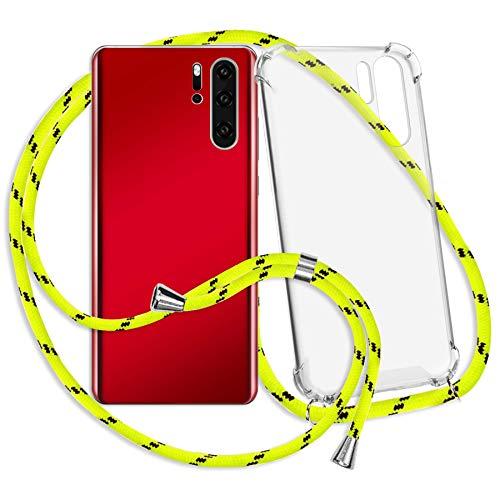 mtb more energy Collar Smartphone para Motorola Moto G8 Plus, G8+ (6.3'') - Amarillo neón Rayado - Funda Protectora ponible - Carcasa Anti Shock con Cuerda