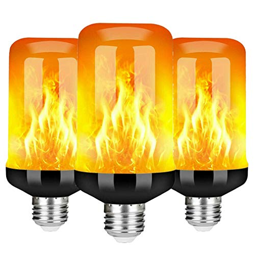 QREZ E27/E14 LED Bombillas De Efecto De Llamas, 5W LED Luces De Llama Realistas Parpadeantes De 4 Modos para Decoración De Navidad Bar Fiesta,E27,3pcs