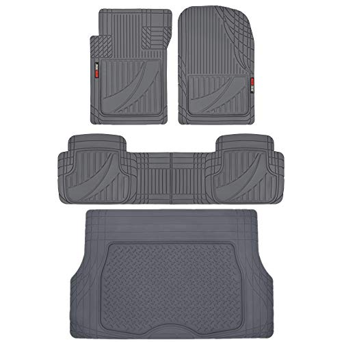 Motor Trend FlexTough Advanced Performance Liners - 4pc HD Rubber Floor Mats & Cargo Liner for Car SUV Auto