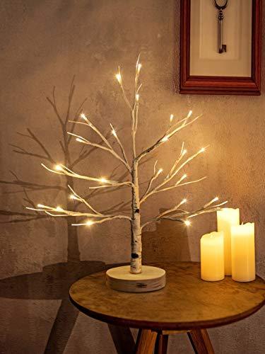 Hypestar Centrotavola Decorativo Artificiale | 24 LED Bianco Caldo a Stella con Comando USB | Decorazione da Tavolo Albero Chiaro | Decorazioni per Interni per Feste Natalizie di Pasqua (Albero)