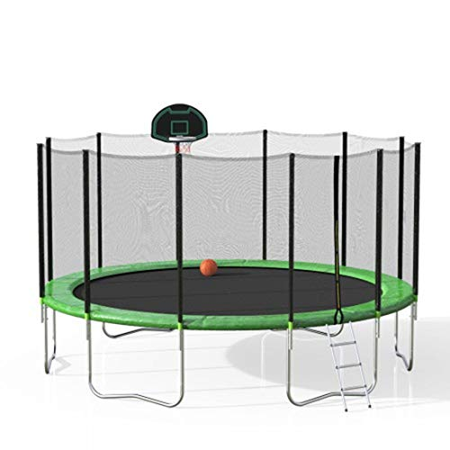 Trampoline 16FT Outdoor Activity Round Bouncing Bed with Safety Fence/Ladder/Spring Cover Padding/Basketball Hoop jianmeili (Color : Color1)