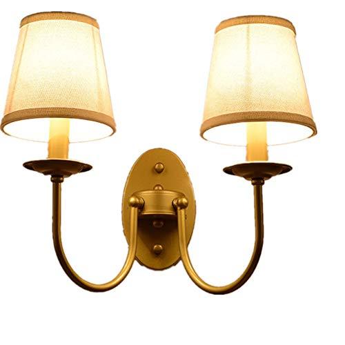Lámparas de Pared Fuente de Luz LED con Pantalla de Tela para Dormitorio Sala de Estar