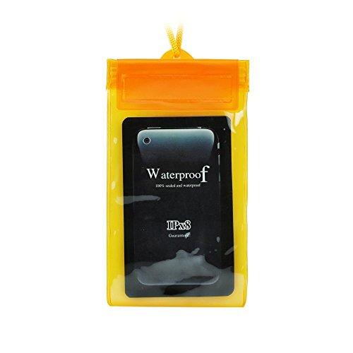 Blue Star Waterproof IPX8 - Funda sumergible con cierre zip para móviles de 5' - Naranja