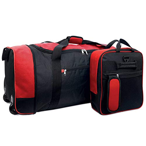 iN Travel Foldaway Holdall On Wheels (Black/Red)