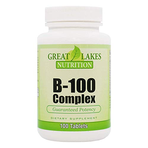Vitamin B-100 Complex | Complete Formula B1, B2, B6, B12, Folic Acid, Biotin | Increases Mental & Physical Energy, Supports Brain & Nervous System and Improves Stress & Adrenal Function | 100 Tablets