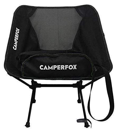 CamperFox Chaise de Camping Pliable avec Sangle de Transport - Charge de 140 kg - Chaise de pêche compacte pour Le Camping et l'extérieur - Robuste, léger, Petit Format
