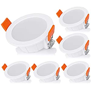 Recessed Ceiling Light, LED 4W Recessed Ceiling Spotlights, Warm White 3000K IP44 Downlight with AC220~240V for Living Room Bedroom Bathroom Kitchen (6 Packs)