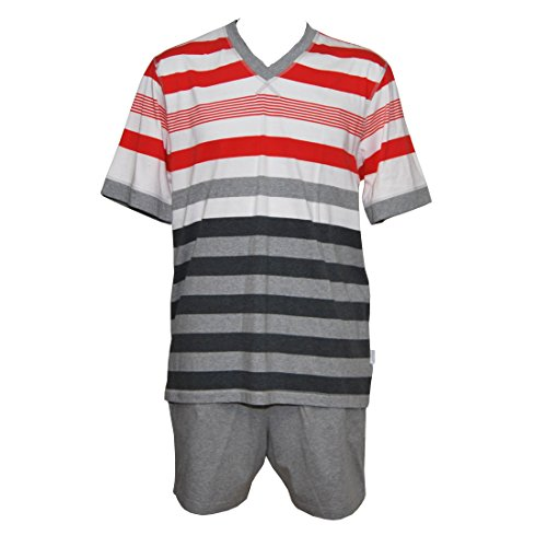 Jockey Herren Pyjama Shorty kurzer Schlafanzug Baumwolle Jersey V-Ausschnitt International Collection, Farbe:Light Heather Grey