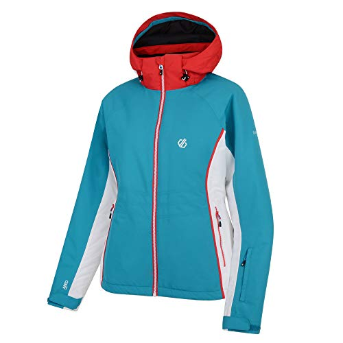 Dare 2B Thrive Waterproof & Breathable High Loft Insulated Ski & Snowboard Jacket with Fixed Foldaway Hood And Snowskirt, Giacca Impermeabile, Isolante Donna, Blu Acqua Dolce, 6