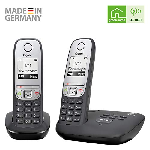 Gigaset A455A DUO - Advanced Cordless Home Phone with Answer Machine and Nuisance Call Block - 2 Handsets, Black/Silver