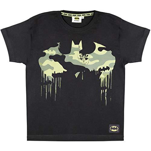 DC Comics Batman Camo Logo Ragazzi T-Shirt Nero 116   età 3-13, i Vestiti dei Bambini, Supereroe Mimetico Top, Bambino agli Adolescenti, Ragazzi Compleanno Idea Regalo