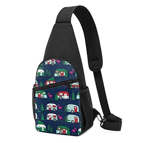 Sling Bolsas para mujer Crossbody mochila árbol de Navidad flamenco coche hombro Daypacks ajustable de viaje resistencia a las arrugas Fanny pecho paquetes