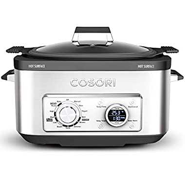 COSORI 6 Qt 11-in-1 Programmable Multi Cooker,Slow Cooker,Rice Cooker,Brown,Saute,Boil,Steamer,Yogurt Maker with Delay & Keep Warm Function,86°to 400°F,Includes Recipe Book,Stainless Steel(CP001-SC)