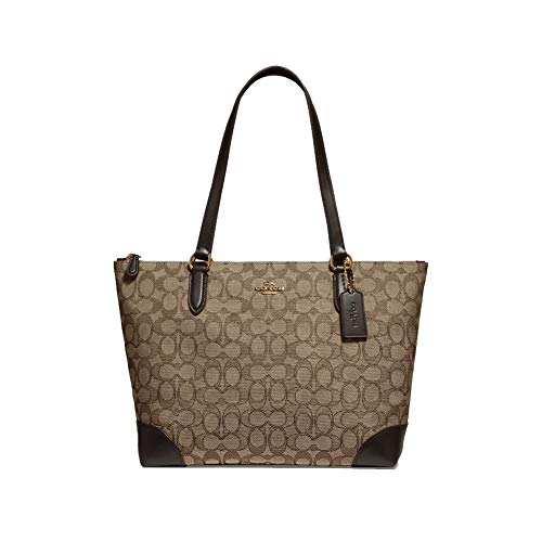 Coach Signature Zip Tote Shoulder Handbag (IM/Khaki/Brown), Medium
