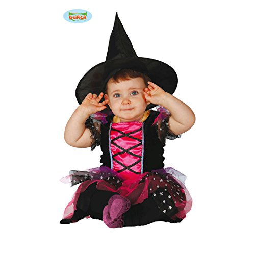 NET TOYS Hexe Babykostüm Hexenkostüm Baby 6 - 12 Monate, 82 - 83 cm böse Zauberin Verkleidung Halloween Outfit Mädchen