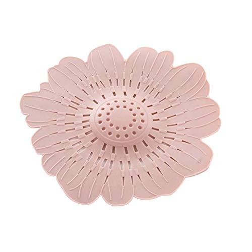 BESTonZON Blume Silikon Abflusssieb Haarsieb Haarfangsieb Siebkorb Haar Stopper Sieb für Dusche Badezimmer Badewanne Spüle und Waschbecken Filter (Rosa)