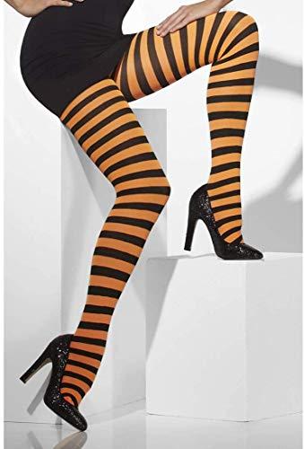 Smiffys Fever Damen Blickdichte Strumpfhose, Gestreift, One Size, Schwarz-Orange, 42716