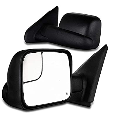 SCITOO Towing Mirrors, fit Dodge Ram Exterior Accessories Mirrors fit 02-08 Ram 1500 03-09 Dodge Ram 2500 3500 Blind spot Mirror Telescoping Features (02-08 Power Heated Mirrors)