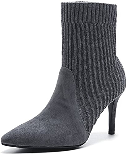 AGECC Femmes Dames Hiver All-Match Pointed Chaussures avec Bottes en Cuir Et Fine Bottes Sexy à Talons Hauts Au Printemps Bonne Chance pour Vous