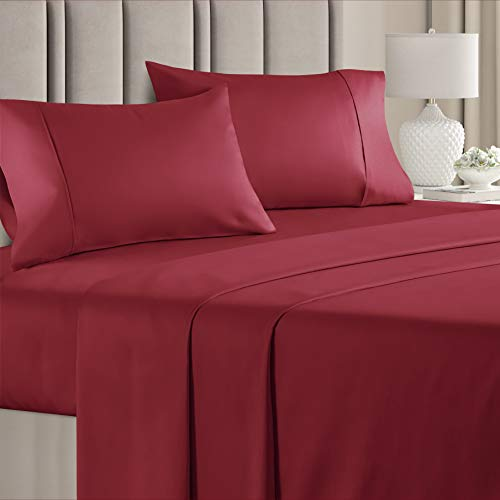 100% Cotton Queen Sheets Burgundy (4pc) Silky Smooth, Cooling 400 Thread Count Long Staple Combed...