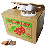 SPARK TOYS & GAMES - Stealing Kitty Cat Piggy Bank in Strawberry Box - Very Cute - Steal Coins Like Magic!