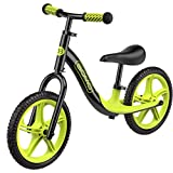 GOMO Balance Bike - Toddler Training Bike for 18 Months, 2, 3, 4 and 5 Year Old Kids - Ultra Cool Colors Push Bikes for Toddlers/No Pedal Scooter Bicycle with Footrest (Black)