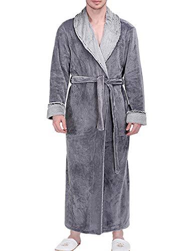 SOMTHRON Luxury Extra lange badjas voor dames en heren, van polyester, warm en zacht flanel