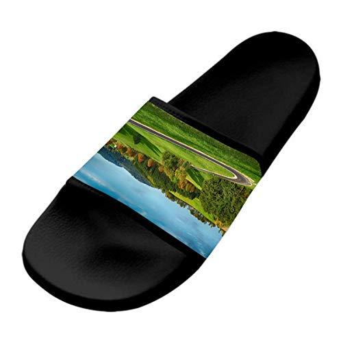GKrepps Winding Road - Pantuflas informales y elegantes para mujer, ligeras, para interiores y exteriores, antideslizantes, zapatillas de baño, planas y cómodas, color Negro, talla 37 EU
