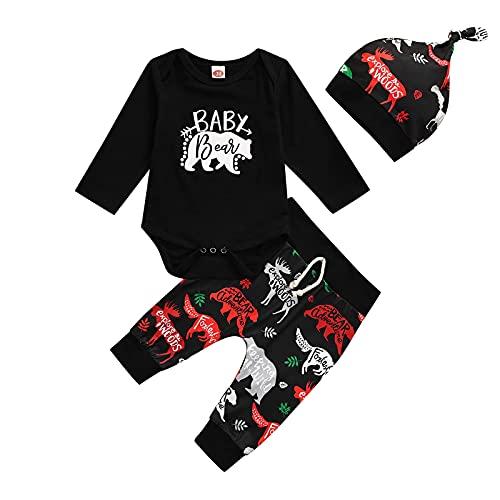 Conjuntos de 3 Piezas para Bebés Varones, Mono de Manga Larga con Cuello Redondo y Estampado de Animales y Letras + Pantalones de Bloque de Color + Gorra Anudada (Negro, 80)