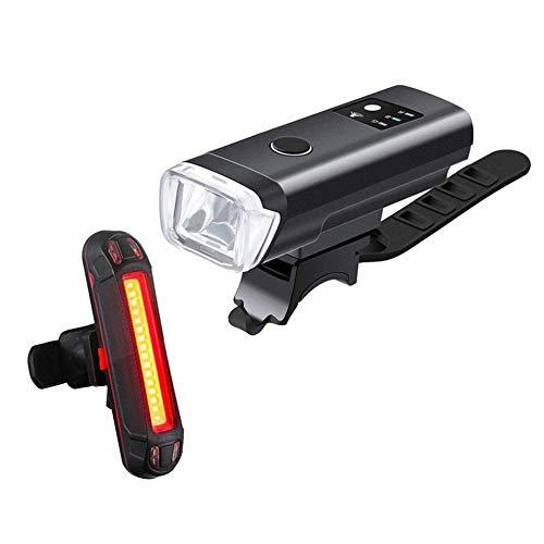 XWYWP Juego de luces de bicicleta Luz de bicicleta recargable USB Conjunto de luz inteligente Sensor delantero Ciclismo faro bicicleta linterna LED impermeable lámpara negro