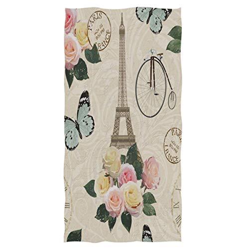 Bert-Collins Torre Eiffel Toallas de Mano Grandes Reloj de Bicicleta Retro Toalla de baño de Mariposa Rosa Toalla de baño Absorbente Ultra Suave, Multiusos, para la Mano, la Cara (40x70cm)