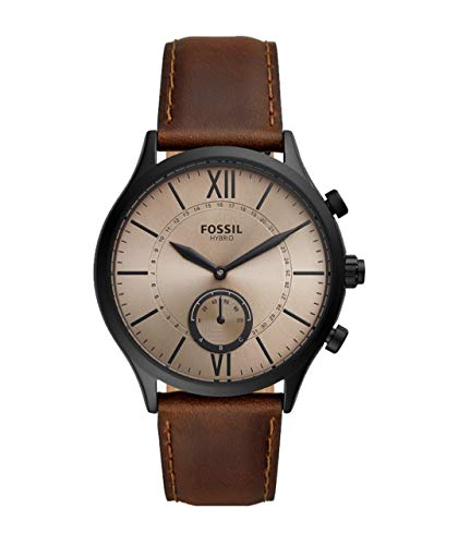 Fossil Hybrid Smartwatch Fenmore mit braunem Lederband für Herren BQT1105