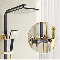 MEIXRJ シャワーセットサーモスタットシャワーセットホワイトゴールドバスルームシャワーシステム銅真鍮バスルームシャワー蛇口降雨ホワイトシャワーセット、502、K10、ホット、コールド、中国