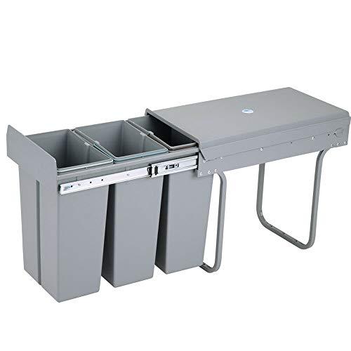 Cubo de basura empotrable para cocina, extraíble, ahorra espacio, sistema de basura, montaje en el suelo, plástico, color gris