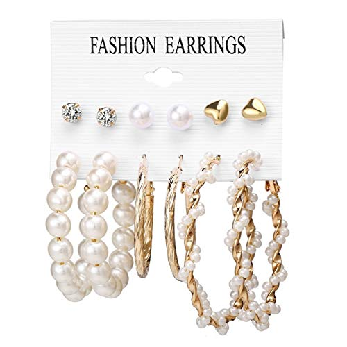 LLTT Simple Plain Gold Color Metal Pearl Hoop Earrings Big Circle Hoops Statement Earrings For Women Party Jewelry (Metal Color : TS5171)