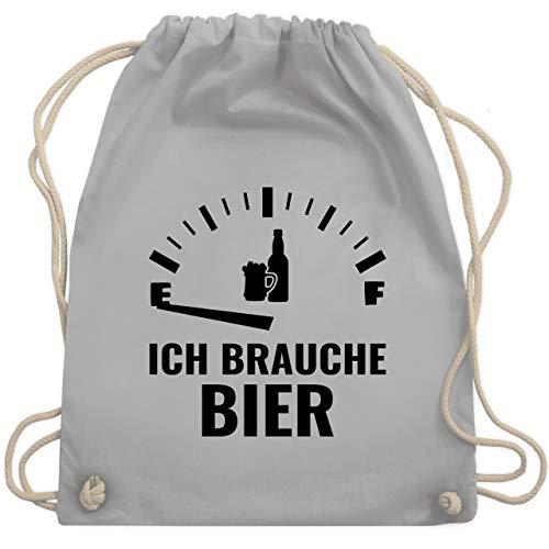Shirtracer Sprüche - Ich brauche Bier - schwarz - Unisize - Hellgrau - Spruch - WM110 - Turnbeutel und Stoffbeutel aus Baumwolle