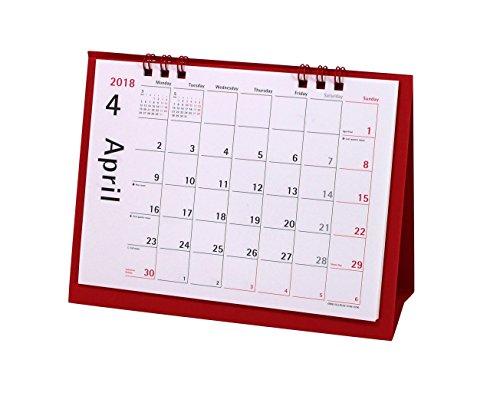 オーブ 2018年 カレンダー 4月始まり 卓上 レッド CKS-600RE